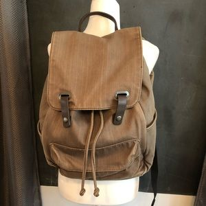 Everlane twill snap backpack knapsack green grey